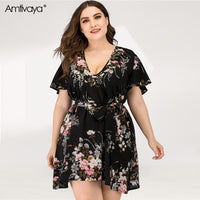 Amtivaya V-Neck Chiffon Dress Plus Size Women 2020 Summer Clothing Elegant Floral Sexy Beach Ladies Lace Up Skirt