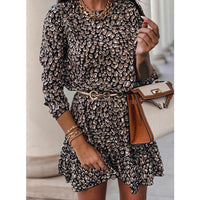 Women Loose Ruffles Floral Print Dress 2021 Spring Casual Round Collar Long Sleeve Office Ladies Mini Dress Party Vestidos