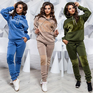 Two Piece Set Tracksuit Women Winter Hoodies Pants Suit Set Ropa Mujer Warm Pullover Sweatshirt Hoodie Feminino Big Size S-3XL