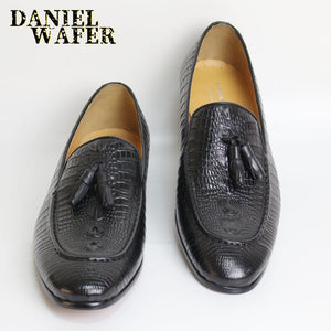 LUXURY MEN LEATHER SHOES SUMMER 2019 LOAFERS MEN OFFICE BUSINESS HIGH GRADE SLIP ON COFFEE BLACK TASSEL SHOES CASUAL SHOES MEN