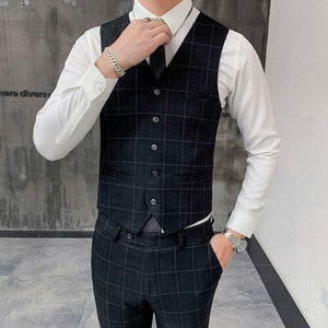 new classic black men's plaid suit vest and pants, fashion business casual Waistcoat men trousers