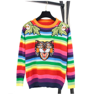 Women Sweater Rainbow Striped Unisex Runway Floral Embroidery Tiger Wool Pullovers