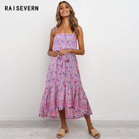 Women New Boho Dress Floral Printed Maxi Dress Vestidos Sexy Backless V Neck Spaghetti Strap Summer Beach Long Bohemian Dress