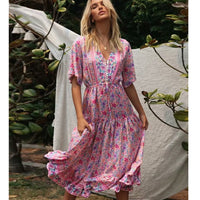 2020 Boho Chic Sexy Floral Printed Maxi Dress Short Sleeve V Neck Vintage Vestido Summer Beach Casual Clothes Long Women Dresses
