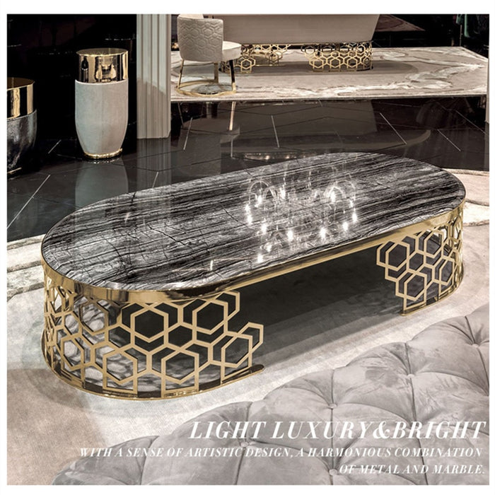 Nordic creative marble tea table black round tea table personality designer light luxury round