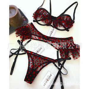 Women Lingerie Set Ladies Sexy Exquisite Lace Lingerie Bra+Garter+Briefs Set Babydoll Cut-Out