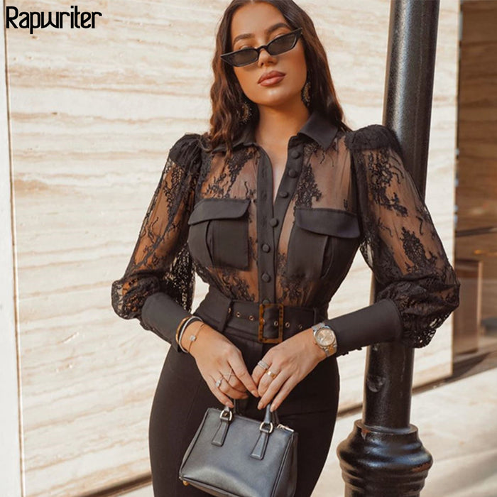 Rapwriter Sexy Transparent Lace Patchwork Turn Down Neck Black Shirt Blouse Women Stylish