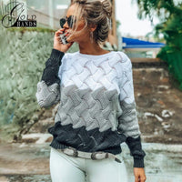 Gold Hands New Women Vintage Splice Autumn Ladies Pullover Jumper Winter Long Sleeve
