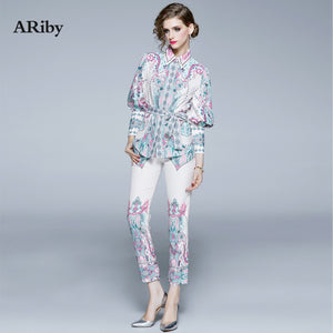 ARiby Women 2 Piece Suit Sets Luxury Flower Print Long Lantern Sleeve Single-Breasted Belt Shirt Blouse+ pencil pants