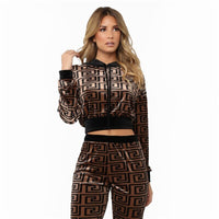 Geometric spliced casual women set hooded short tops and long pants 2 piece set leisure sports suit