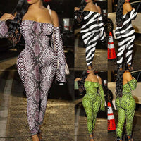 Womens Jumpsuit Off Shoulder Long Sleeve Stretch Animal Print Bodycon Romper Club Bodysuit Long Pants