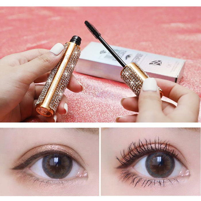 4D Silk Fiber Diamond Mascara Waterproof Not Blooming Long Black Thick Curling Fast