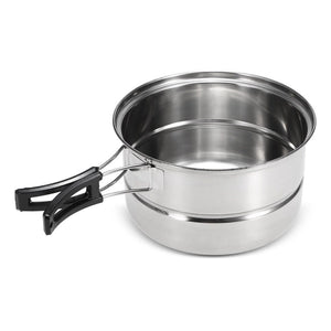 3Pcs Camping Cookware Set Stainless Steel Pot Frying Pan Steaming Rack Outdoor Home Kitchen Cooking Set