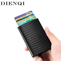 DIENQI Carbon Fiber Credit Card Holder Wallets Men Rfid Bank Cardholder Case Leather Creditcard Pocket Thin Mini Smart Wallet