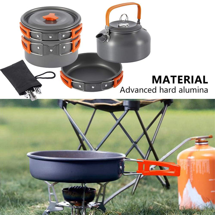 Camping Cookware Kit Outdoor Aluminum Cooking Set Water Kettle Pan Pot Travelling Hiking