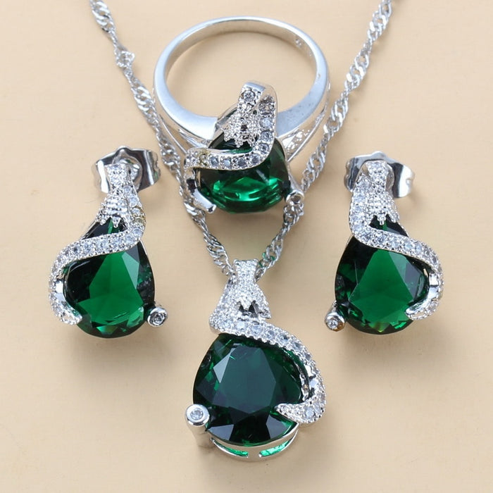 Green Cubic Zirconia 925 Silver Jewelry Sets Stud Earrings/Necklace/Pendant/Ring