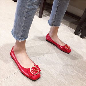Special Offer PU Women Ballet Flat Shoes with Women'S Slip-On Soft Metal Decoration Boat Shoes Women Flats Zapatos Mujer