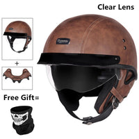 HOT sale Open Face Half PU Leather Helmet Moto Motorcycle Helmets vintage Motorbike Headgear Casque Casco For helmet