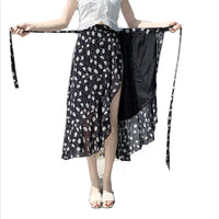 10 Colors 2020 Bohemian Floral Print chiffon skirt Women Boho Asymmetrical Ruffle Skirt Maxi Long beach Skirts plus size M-8XL