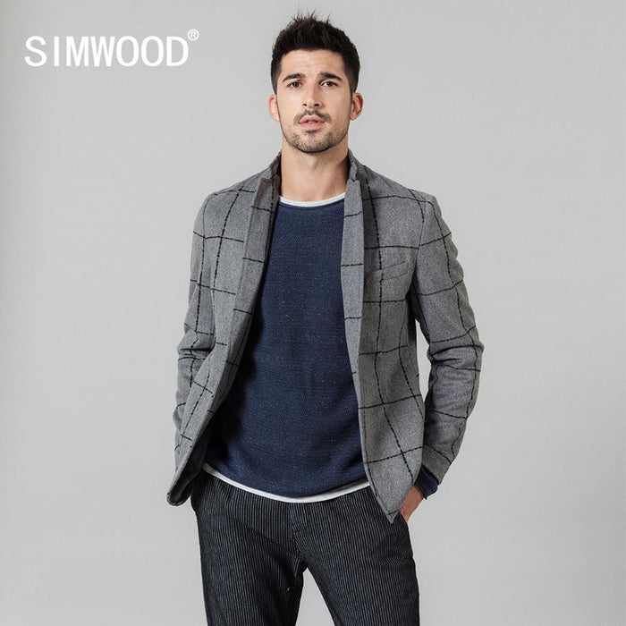 SIMWOOD 2019 autumn winter new casual blazers men fashion plaid suits jacket wool blend