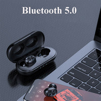B5 TWS Bluetooth Wireless Earphone 5.0 Headphones Touch Control Earbuds Waterproof Stereo Music Headset 300mAh Power Bank HD Mic