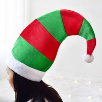 Big Sized Christmas Santa Elf Hat Red And Green Striped Design With White Festive Party Hat For Home Decoration