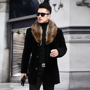 Overcoat Male Wool Blend Autumn Winter Coat Men With Artifical Fur Collar Coat Men Winter Trench Plus Size M-5XL