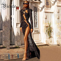 VC All Free Shipping 2020 New Trendy Black Sequins Long Sleeves Voile Splicing Celebrity Party Club Maxi Long Dress