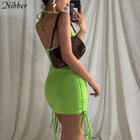 NIBBER 2020 spring summer club vacation birthday party camis dress women sexy fashion solid color skinny kawaii mini wrap dress