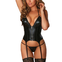 Womens Bodysuit Fashion Zipper Bodysuit With Garter Leather Thong Set Sexy Nightwear female