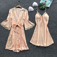 Women's Sexy Lace Sleepwear Lingerie Lace pajamas robe Set Underwear Nightdress Ladies Home Clothes
