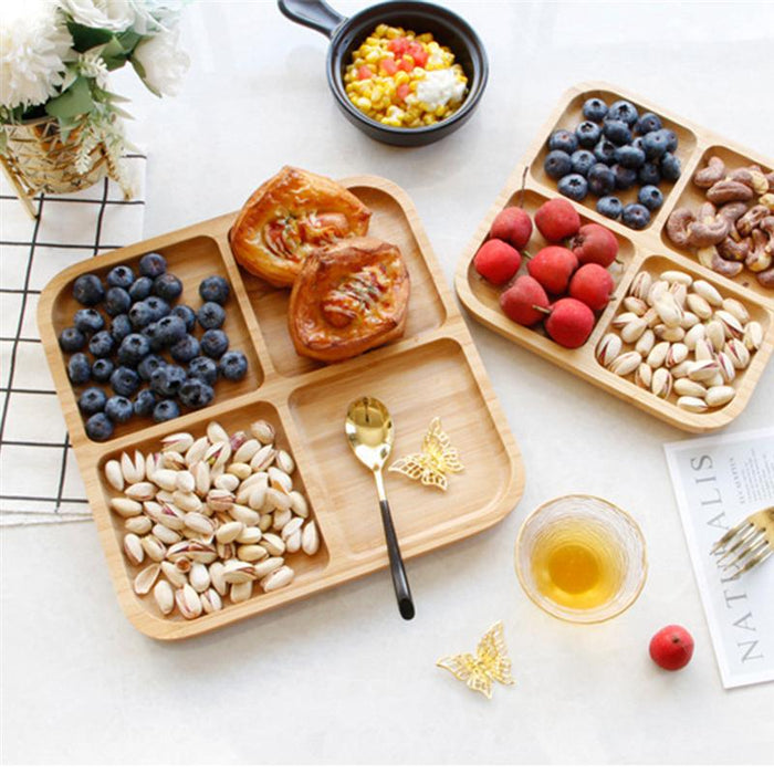 4 Grids Bamboo Snack Plate Rectangle Snack Plate Fruit Bread Tray Dishes Organizer Rack