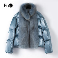women duck down new Real fox fur parka jacket overcoat lady female winter fashion genuine fur coat outwear TX223914