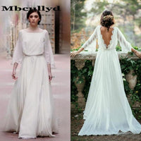 Mbcullyd Long Sleeve Plus Size Wedding Dresses Backless Ivory Beach Wedding Dresses Bridal Gowns Bohemia Chiffon Robe De Mariage