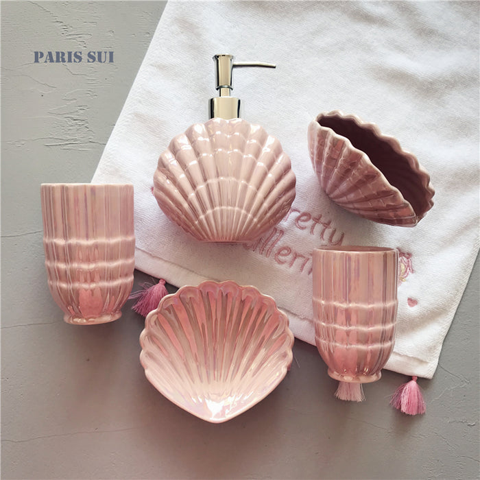 Ceramic Shell shape Bathroom Accessory Set Washing Tools Bottle Mouthwash Cup Soap