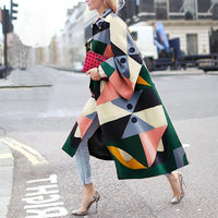 Autumn Winter Trench Coat Fashion Geometric Print Color Coat Female Casual Long Cardigan Coat Turn-Down Collar Vintage Outwear