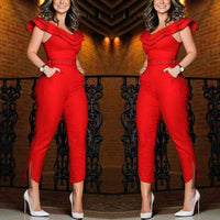 Womens Summer Fintness Ruffle red jumpsuit Jumpsuit V-neck Sleeveless Solid Silk Bodysuit  palazzo mujer jumpsuit