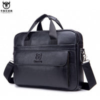 BULLCAPTAIN Cowhide Leather Briefcase Mens Genuine Leather Handbags Crossbody Bags High Quality Luxury Laptop Messenger Bags