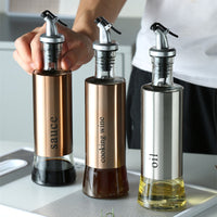 Olive Oil Dispenser Bottle Sauce Vinegar Wine Seasoning Glass Stainless Steel Container Kitchen Storage Cooking Tool Accessories