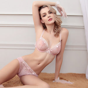 New Hot Arrival Bra lace bra Set  thin Comfortable lace sexy bras ladies 3/4 Cup padding Comfortable Push up bra sets women