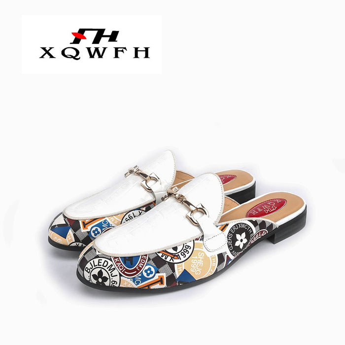 XQWFH Brand Summer Men's Slippers Fashion Flip Flops Print Leather Men Casual Beach Sandals Non-slip Men Loafers