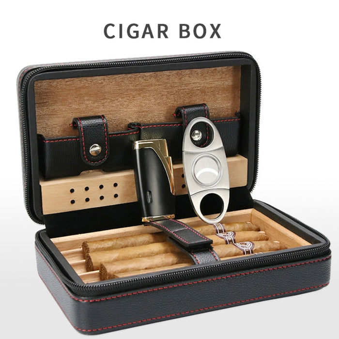 Cigar Humidor Case Portable Wood Leather Travel Humidor Humidifier Removable Cedar