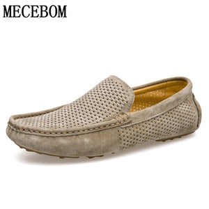 Men Loafers Hole Out Breathable Genuine Leather Casual Shoes Slip-on Men Business Driving Boat Shoes Flats Moccasins