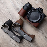Retro Vintage Genuine Leather Camera case Handmade Half Bag For Nikon Z6 Z7