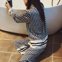 Classical Houndstooth Pyjamas Women 2020 New Summer Pijamas Set Silk Stain Sleepwear Pajamas for Women Pijama Feminino Pyjama