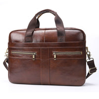 PIUNCLE Brand Genuine Leather Briefcase Men's 14'' Laptop Handbags Business Tote Crossbody