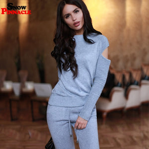 Women knitted suit Fashion Casual 2PCS Track Suit Solid Knitted pullovers + Long Trousers Tops Costume Clothing Set