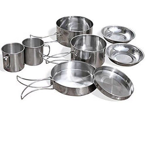 8Pcs/set Ultra-light Stainless Steel Outdoor Picnic Pot Pan Kit Outdoor Camping Hiking