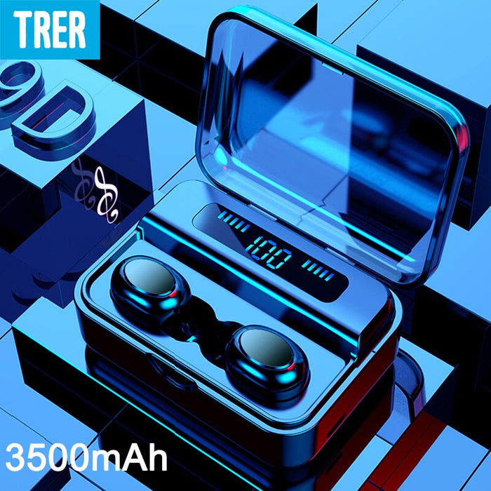 TRER Wireless Headphones Bluetooth TWS 5.0 9D Bluetooth Earphone LED Display Stereo Earbuds 3500mAh Power Bank with microphone (Black)