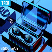 TRER Wireless Headphones Bluetooth TWS 5.0 9D Bluetooth Earphone LED Display Stereo Earbuds 3500mAh Power Bank with microphone